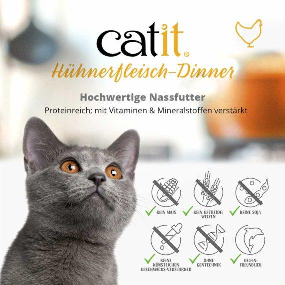 Catit Hühnerfleisch-Dinner - Hochwertige Nassfutter. Proteinreich; mit Vitaminen & Mineralstoffen verstärkt