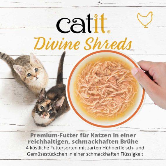 Catit Divine Shreds Hühnerfleisch - Premium-Futter für Katzen in einder reichhaltigen, schmackhaften Brühe. 4 köstliche Futtersorten mit zarten Hühnerfleisch- und Gemüsestückchen in einer schmackhaften Flüssigkeit