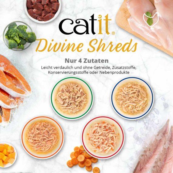 Catit Divine Shreds Hühnerfleisch - Nur 4 Zutaten. Leicht verdaulich und ohne Getreide, Zusatzstoffe, Konservierungsstoffe oder Nebenprodukte
