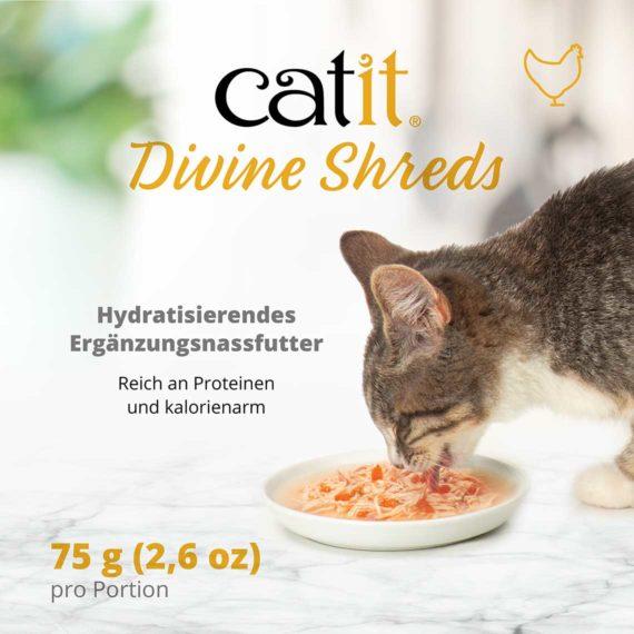 Catit Divine Shreds Hühnerfleisch - Hydratisierendes Ergänzungsnassfutter. Reich an Proteinen und kaloriearm