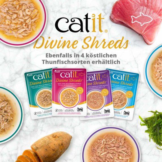 Catit Divine Shreds Hühnerfleisch - Ebenfalls in 4 köstlichen Thunfischsorten erhältlich