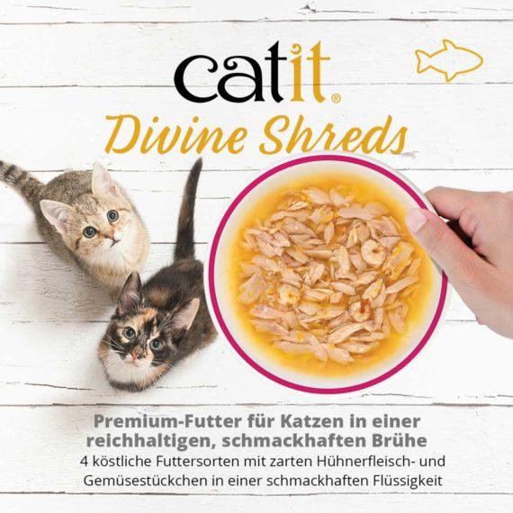 Catit Divine Shreds Tuhnfisch - Premium-Futter für Katzen in einer reichhaltigen, schmackhaften Brühe. 4 köstliche Futtersorten mit zarten Hühnerfleisch- un Gemüsestückchen in einder schmackhaften Flüssigkeit