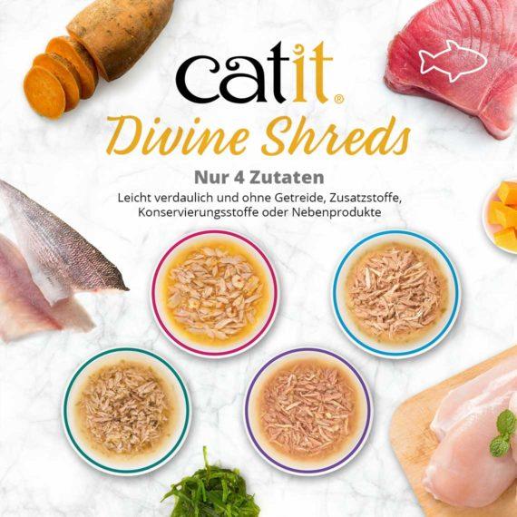 Catit Divine Shreds Tuhnfisch - Nur 4 Zutaten. Leicht verdaulich und ohne Getreide, Zusatzstoffe, Konservierungsstoffe oder Nebenprodukte